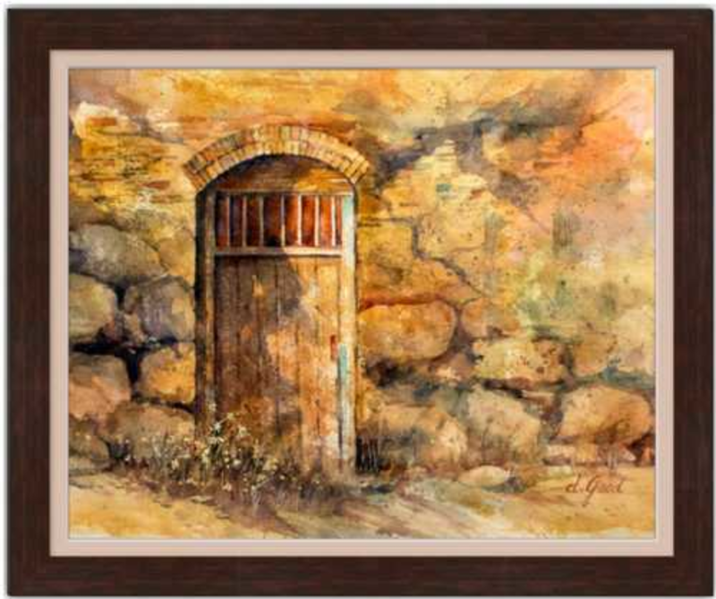 "Sanctuary Mission Door Framed Fine Art Paper Prints 30 x 24"" Strathmore Pure Cotton 1/2"" Extra Border Added Frame:Nature Wood IV 2"" X 7/8"" Dark Walnut Single Mat:Dusty Pink 32x26"" (window:30x24"") Glazing (Acrylic Glass):Conservation Reflection Control-30 x 24"" Strathmore Pure Cotton-Rodeo Queen Fine Art-Rodeo Queen Fine Art"