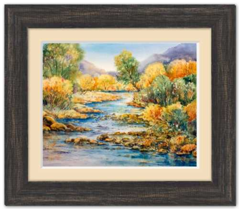 "South Llano Texas Riverscape Framed Fine Art Paper Prints 10 x 8"" Premium Giclee Paper 1/2"" Extra Border Added Frame:Country Colors 1 1/2"" Charcoal Black Single Mat:Ecru 12x10"" (window:10x8"") Clear Acrylic Glazing-10 x 8"" Premium Giclee Paper-Rodeo Queen Fine Art-Rodeo Queen Fine Art"