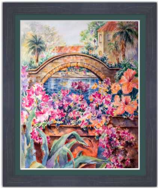 "Rosita's Bridge over San Antonio Riverwalk Framed Fine Art Paper Prints 16 x 20"" Premium Giclee Paper 1/2"" Extra Border Added Frame:Country Colors 1 1/2"" Weathered Blue Single Mat:Emerald 18 x 22"" (window:16x20"") Clear Acrylic Glazing-16 x 20"" Premium Giclee Paper-Rodeo Queen Fine Art-Rodeo Queen Fine Art"