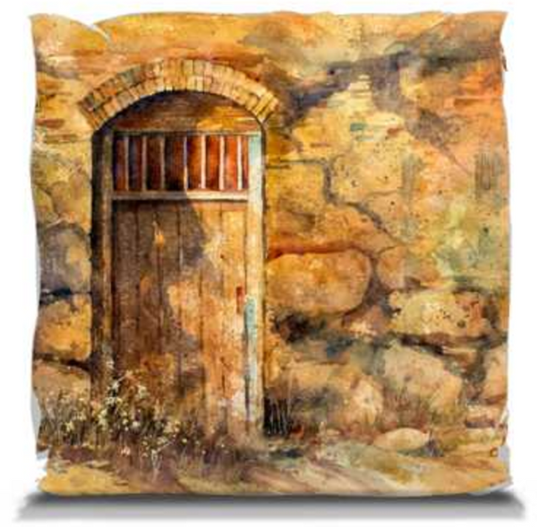 "Sanctuary Mission Door | Pillows 14"" Soft Throw Pillow Mfg #: 1-GM1414W-Pillows-Rodeo Queen Fine Art-Rodeo Queen Fine Art"