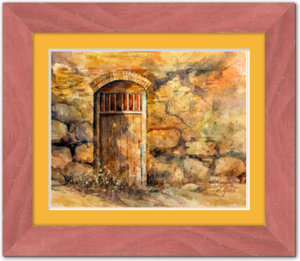 "Sanctuary Mission Door Framed Fine Art Paper Prints 10 x 8"" Premium Giclee Paper 1/2"" Extra Border Added Frame:Country Colors 1 1/2"" Alabama Red Single Mat:Saffron 12x10"" (window:10x8"") Clear Acrylic Glazing-10 x 8"" Premium Giclee Paper-Rodeo Queen Fine Art-Rodeo Queen Fine Art"