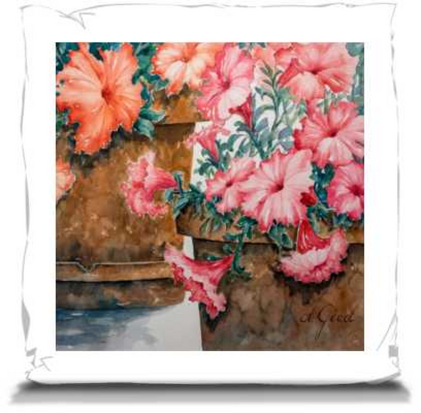 "Potted Petunias | Pillows 16"" Canvas Throw Pillow Mfg #: 1-JDW744-Pillows-Rodeo Queen Fine Art-Rodeo Queen Fine Art"