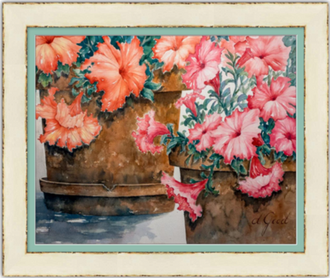 "Potted Petunias Framed Fine Art Paper Prints 30 x 24"" Archival Matte Paper 1/2"" Extra Border Added Frame:Ferro 2 3/4"" Ivory Ferro Single Mat:Misty Jade 32x26"" (window:30x24"") Clear Acrylic Glazing-30 x 24"" Archival Matte Paper-Rodeo Queen Fine Art-Rodeo Queen Fine Art"