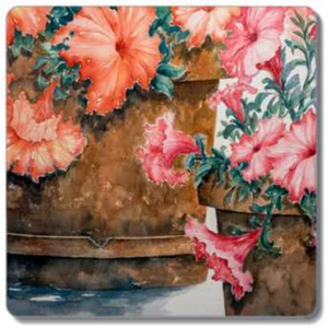 Potted Petunias | Coasters Sandstone Coasters - Single - Square Mfg #: 1-SSC015-Coasters-Rodeo Queen Fine Art-Rodeo Queen Fine Art