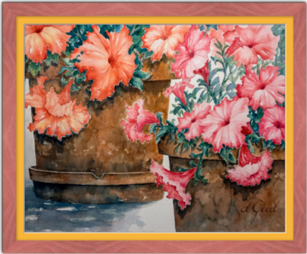 "Potted Petunias Framed Fine Art Paper Prints 30 x 24"" Premium Giclee Paper 1/2"" Extra Border Added Frame:Country Colors 1 1/2"" Alabama Red Single Mat:Saffron 32x26"" (window:30x24"") Clear Acrylic Glazing-30 x 24"" Premium Giclee Paper-Rodeo Queen Fine Art-Rodeo Queen Fine Art"