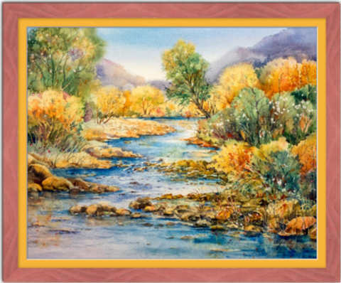 "South Llano Texas Riverscape Framed Fine Art Paper Prints 30 x 24"" Premium Giclee Paper 1/2"" Extra Border Added Frame:Country Colors 1 1/2"" Alabama Red Single Mat:Saffron 32x26"" (window:30x24"") Clear Acrylic Glazing-30 x 24"" Premium Giclee Paper-Rodeo Queen Fine Art-Rodeo Queen Fine Art"