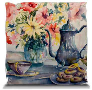"Afternoon Family Tea | Pillows 14"" Soft Throw Pillow Mfg #: 1-GM1414W-Pillows-Rodeo Queen Fine Art-Rodeo Queen Fine Art"