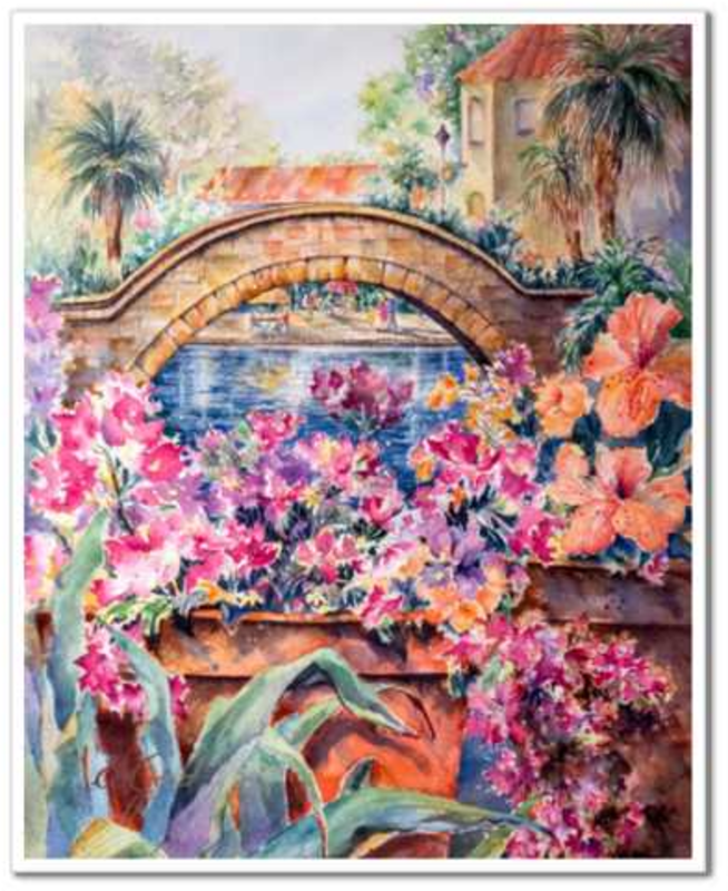 "Rosita's Bridge over San Antonio Riverwalk Fine Art Paper Prints 24 x 30"" Premium Giclee Paper 1/2"" Extra Border Added Mfg #: 1-24 x 30"" Premium Giclee Paper-Rodeo Queen Fine Art-Rodeo Queen Fine Art"