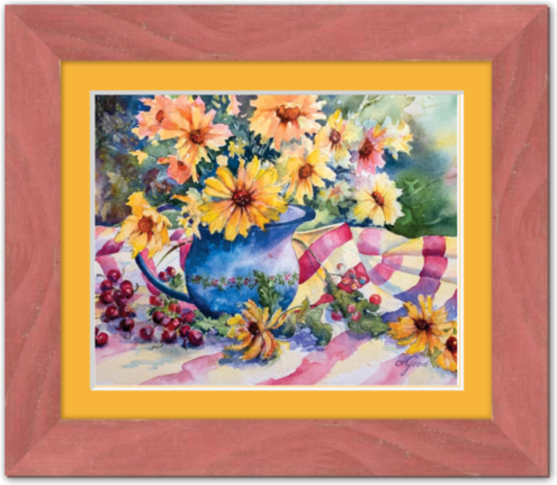 "Red Bing Cherries on Linen Tablecloth Framed Fine Art Paper Prints 10 x 8"" Premium Giclee Paper 1/2"" Extra Border Added Frame:Country Colors 1 1/2"" Alabama Red Single Mat:Saffron 12x10"" (window:10x8"") Clear Acrylic Glazing-10 x 8"" Premium Giclee Paper-Rodeo Queen Fine Art-Rodeo Queen Fine Art"