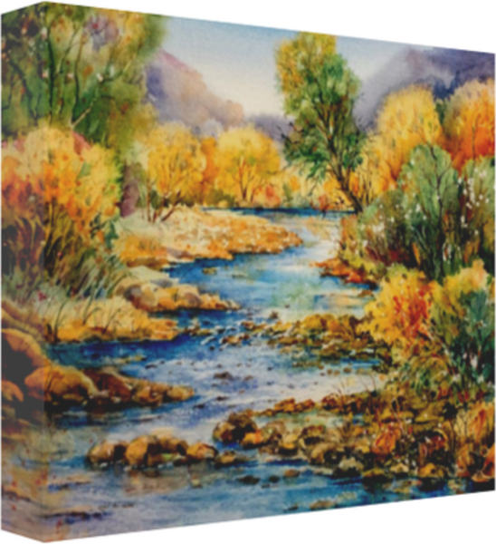 "South Llano Texas Riverscape Canvas 20 x 16"" Artisan Archival Canvas Thick Gallery Wrapped- Black Archival Backing & Wire Hanger Mfg #: 1-20 x 16"" Artisan Archival Canvas-Rodeo Queen Fine Art-Rodeo Queen Fine Art"