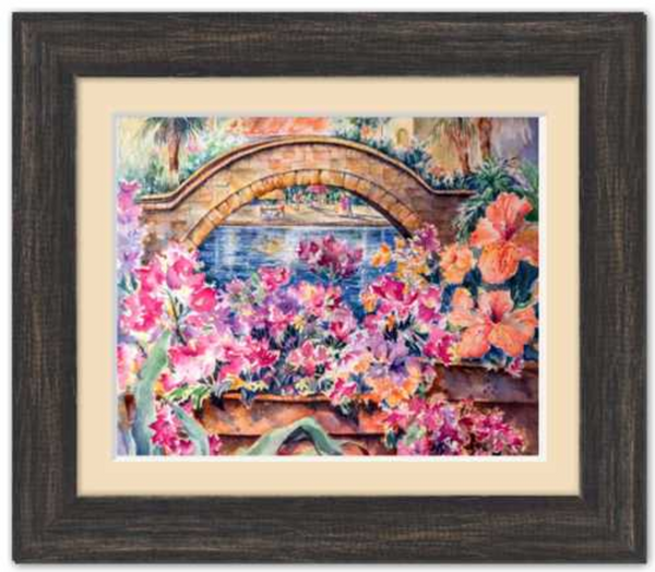 "Rosita's Bridge over San Antonio Riverwalk Framed Fine Art Paper Prints 10 x 8"" Premium Giclee Paper 1/2"" Extra Border Added Frame:Country Colors 1 1/2"" Charcoal Black Single Mat:Ecru 12x10"" (window:10x8"") Clear Acrylic Glazing-10 x 8"" Premium Giclee Paper-Rodeo Queen Fine Art-Rodeo Queen Fine Art"