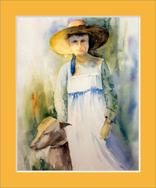 "The Girl and Her Dog When They Were Young Matted Fine Art Paper Prints 8 x 10"" Premium Giclee Paper 1/2"" Extra Border Added Single Mat: Saffron (A4852) 10 x 12"" (window: 8 x 10"") Mfg #: 1-A4852-8 x 10"" Premium Giclee Paper-Rodeo Queen Fine Art-Rodeo Queen Fine Art"