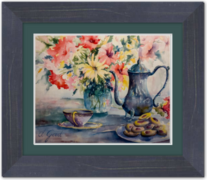"Afternoon Family Tea Framed Fine Art Paper Prints 10 x 8"" Premium Giclee Paper 1/2"" Extra Border Added Frame:Country Colors 1 1/2"" Weathered Blue Single Mat:Emerald 12x10"" (window:10x8"") Clear Acrylic Glazing-10 x 8"" Premium Giclee Paper-Rodeo Queen Fine Art-Rodeo Queen Fine Art"