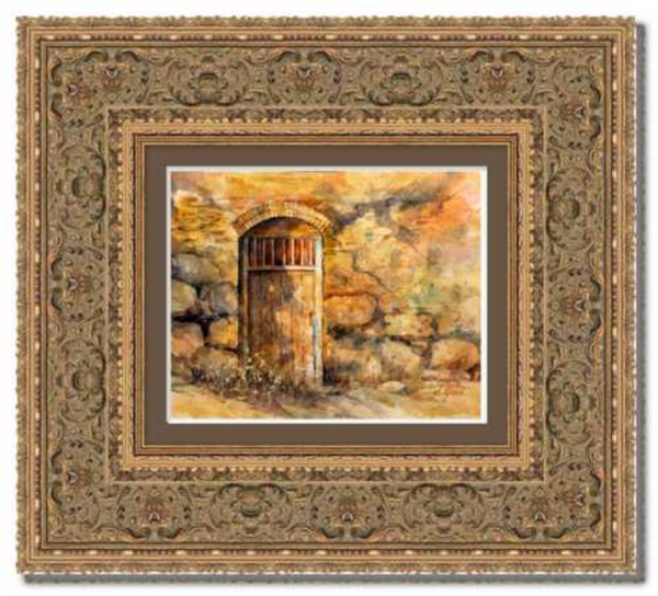 "Sanctuary Mission Door Framed Fine Art Paper Prints 10 x 8"" Strathmore Pure Cotton 1/2"" Extra Border Added Frame:Rustic Ornate Ambrosia Gold 4"" Single Mat:Clove 12x10"" (window:10x8"") Glazing (Acrylic Glass):Conservation Reflection Control-10 x 8"" Strathmore Pure Cotton-Rodeo Queen Fine Art-Rodeo Queen Fine Art"