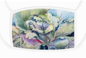 Cabbage Adage | Face Masks Large Face Mask - White Trim Mfg #: 1-PFM55-Face Masks-Rodeo Queen Fine Art-Rodeo Queen Fine Art
