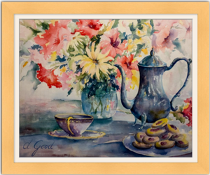 "Afternoon Family Tea Framed Fine Art Paper Prints 30 x 24"" Archival Matte Paper 1/2"" Extra Border Added Frame:Nature Wood IV 2"" X 7/8"" Natural Single Mat:Devonshire 32x26"" (window:30x24"") Clear Acrylic Glazing-30 x 24"" Archival Matte Paper-Rodeo Queen Fine Art-Rodeo Queen Fine Art"
