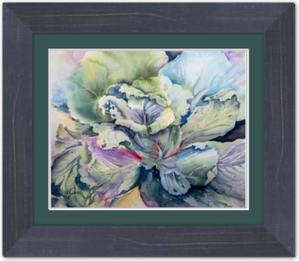 "Cabbage Adage Framed Fine Art Paper Prints 10 x 8"" Premium Giclee Paper 1/2"" Extra Border Added Frame:Country Colors 1 1/2"" Weathered Blue Single Mat:Emerald 12x10"" (window:10x8"") Clear Acrylic Glazing-10 x 8"" Premium Giclee Paper-Rodeo Queen Fine Art-Rodeo Queen Fine Art"