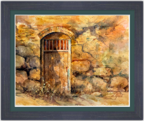 "Sanctuary Mission Door Framed Fine Art Paper Prints 20 x 16"" Premium Giclee Paper 1/2"" Extra Border Added Frame:Country Colors 1 1/2"" Weathered Blue Single Mat:Emerald 22x18"" (window:20x16"") Clear Acrylic Glazing-20 x 16"" Premium Giclee Paper-Rodeo Queen Fine Art-Rodeo Queen Fine Art"