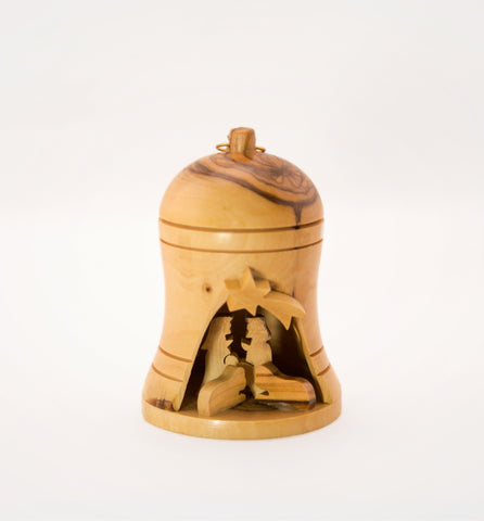 Christmas ornaments - Bell with nativity scene - Olive wood