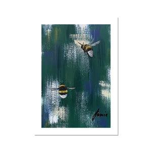 blue and green bee artwork fine art print