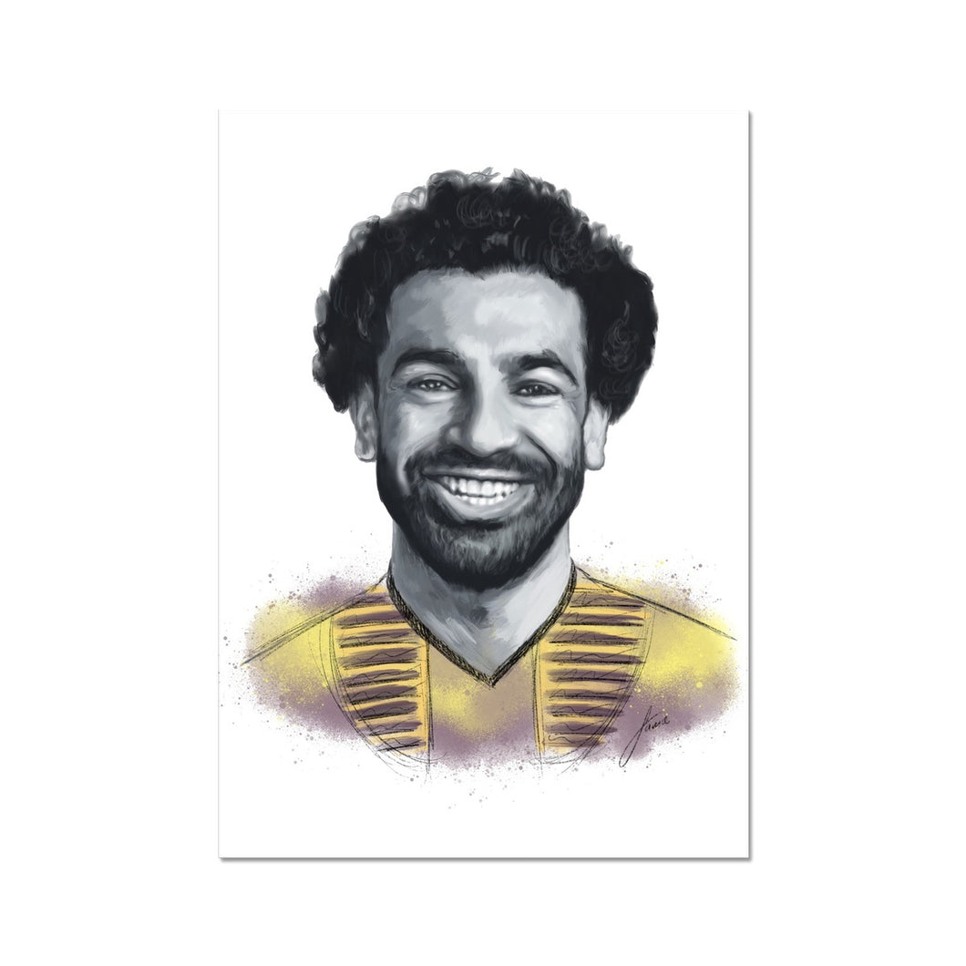 Liverpool footballer Mo Salah, Egyptian King Portrait Fine Art Print.