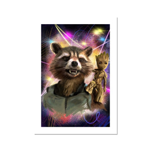 Rocket Raccoon and Baby Groot Portrait Fine Art Print