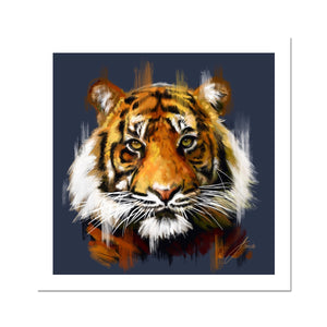 Tiger (Blue Background) Fine Art Print