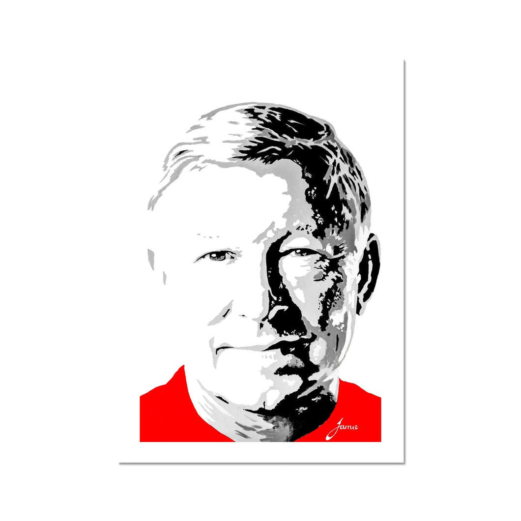 Manchester United football legend Sir Alex Ferguson Portrait Fine Art Print artwork