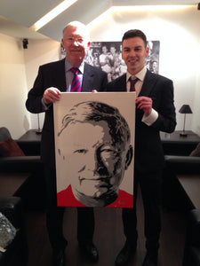 Manchester United football legend Sir Alex Ferguson and artist Jamie Wilkinson with painting