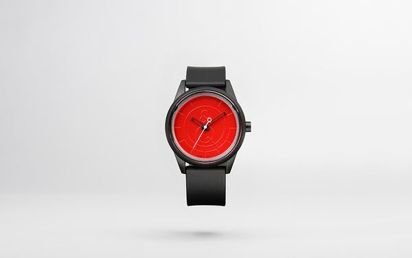 Q&Q Smile Solar Watch J003Y (Red dial on Black Strap)