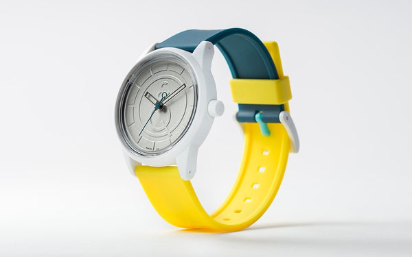 Q&Q Smile Solar Watch J006Y (White dial on Emerald&Yellow strap)