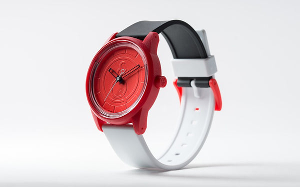 Q&Q Smile Solar Watch J007Y (Red dial on B&W strap)