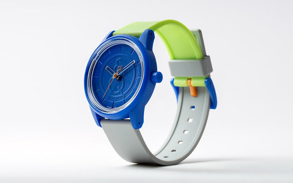 Q&Q Smile Solar Watch J008Y (Blue dial on Green&Grey strap)