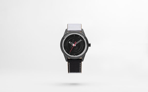 Q&Q Smile Solar Watch J009Y (Black dial on B&W fabric strap)