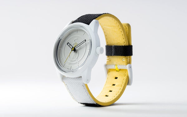 Q&Q Smile Solar Watch J010Y (White dial on B&W fabric strap)