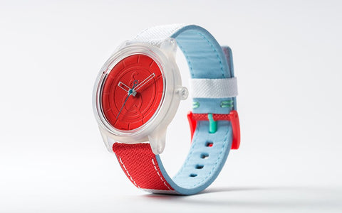 Q&Q Smile Solar Watch J011Y (Red dial on Red&White fabric strap)