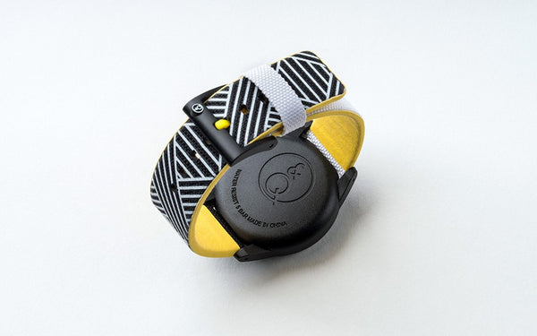 Q&Q Smile Solar Watch J012Y (Black dial on B&W weaved pattern strap)