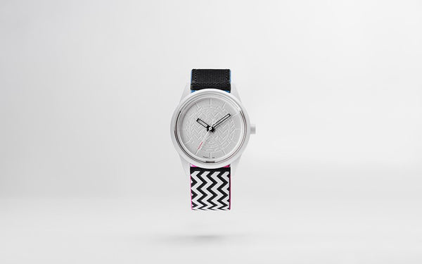 Q&Q Smile Solar Watch J013Y (Silver dial on B&W jagged pattern strap)