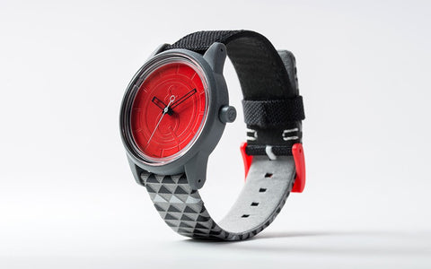 Q&Q Smile Solar Watch J014Y (Red dial on Black checkered pattern strap)