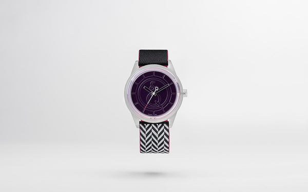 Q&Q Smile Solar Watch J015Y (Purple dial on B&W track pattern strap)