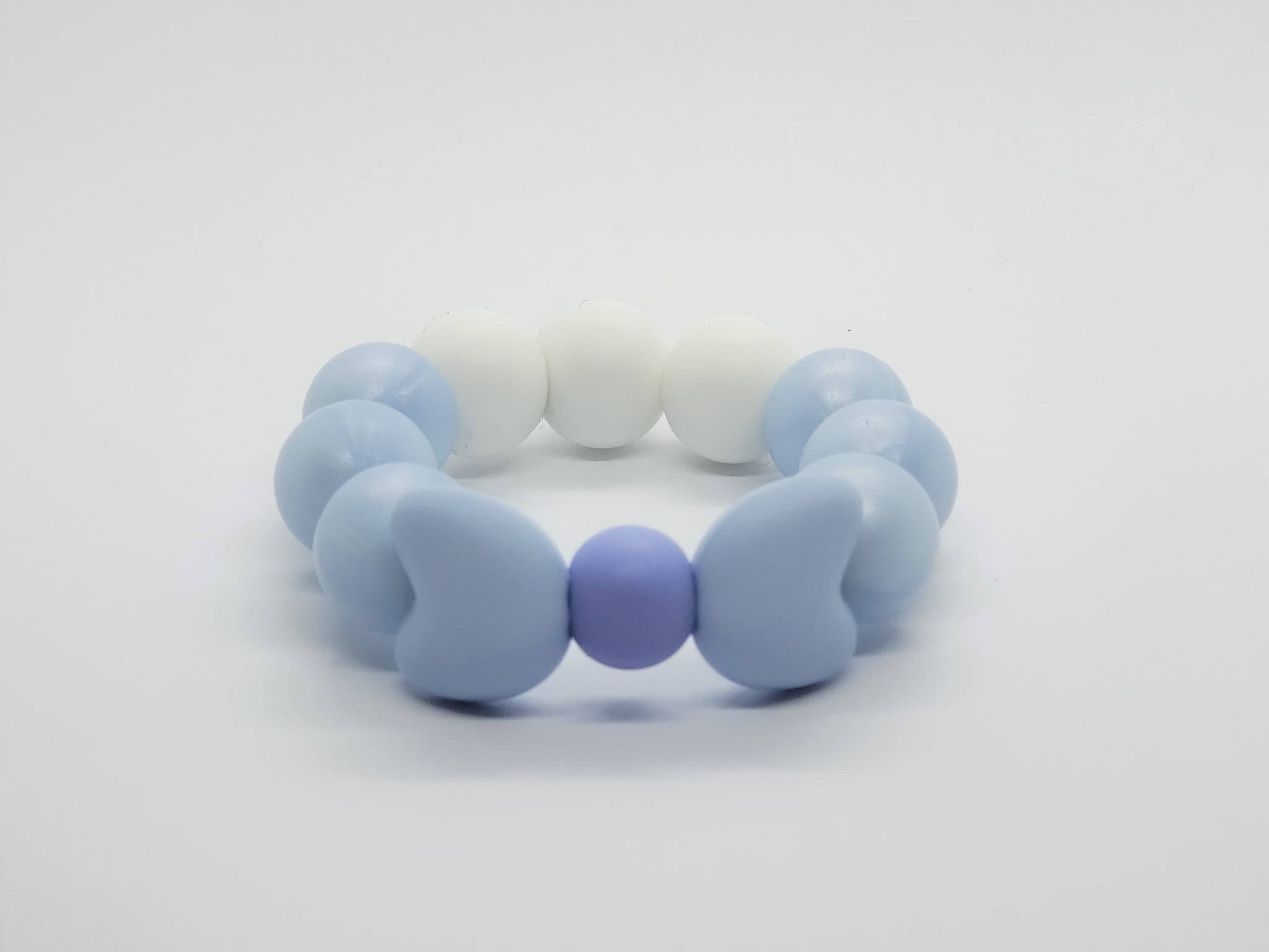 Silicone Teether Bracelet with Bows - Petite - Baby Blue