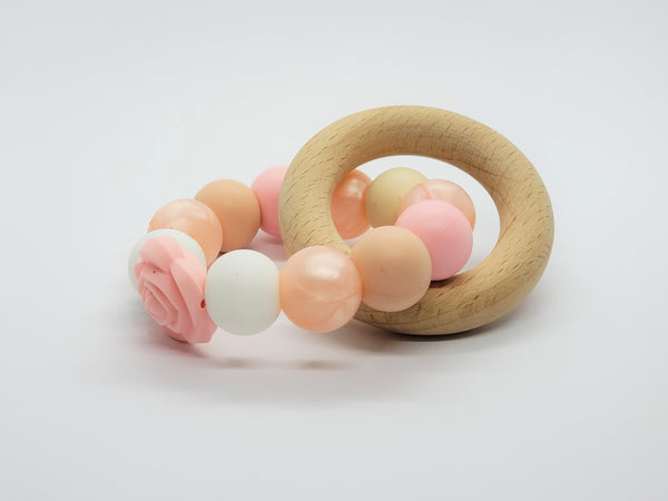 Silicone Teether Bracelet with Wooden Ring - Petite - Grace