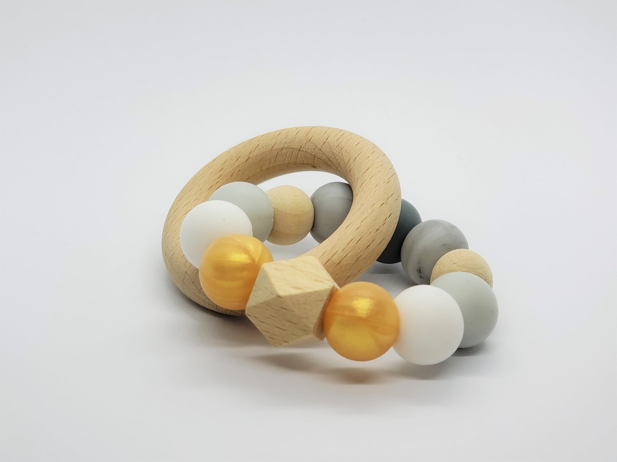 Silicone Teether Bracelet with Wooden Ring - Petite - Meteorite