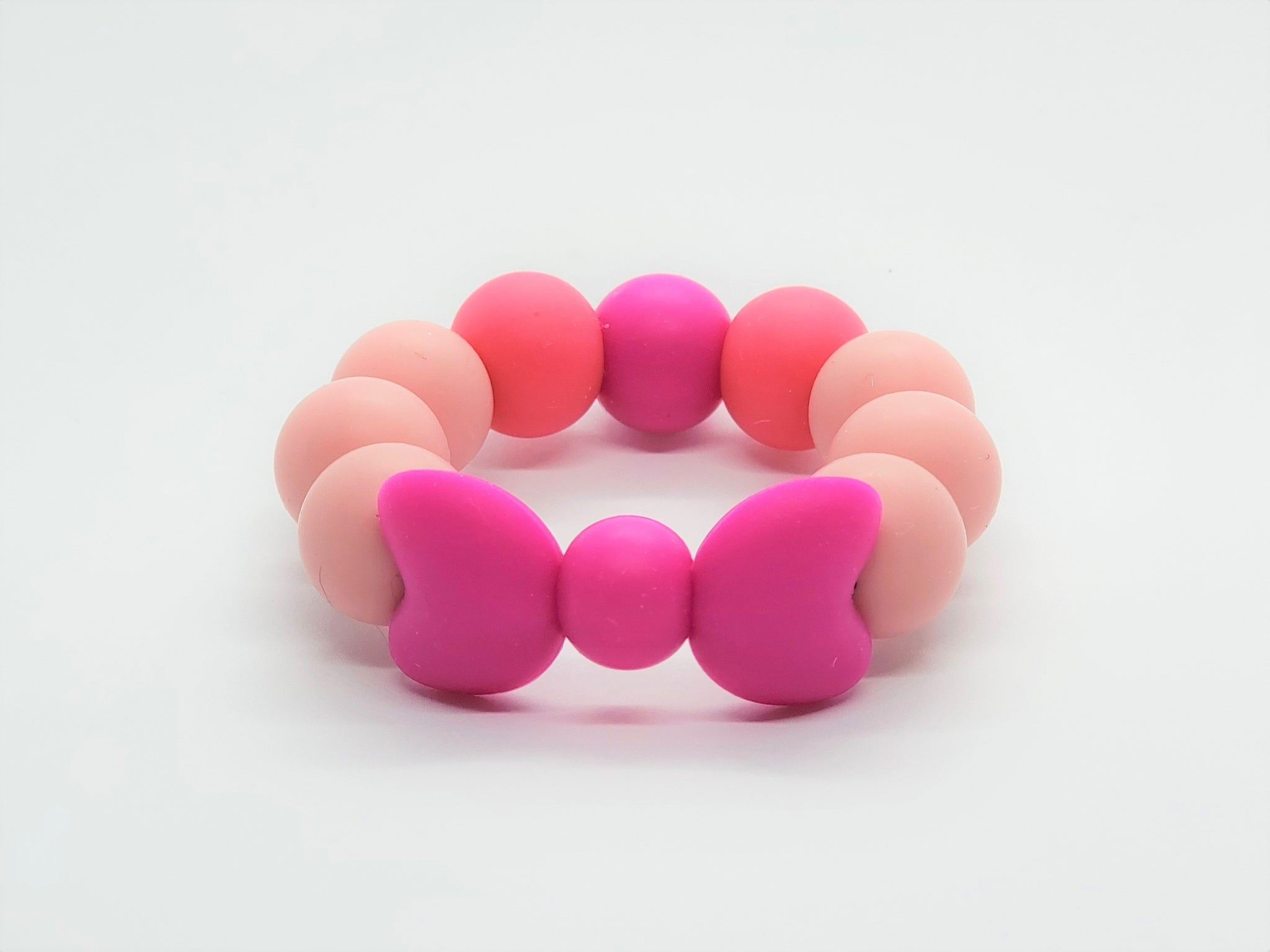 Silicone Teether Bracelet with Bows - Petite - Pink Lemonade