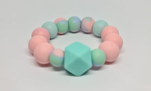 Silicone Teether Bracelet - Pink Rainbow