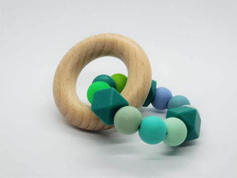 Silicone Teether Bracelet with Wooden Ring - Petite - Rainforest