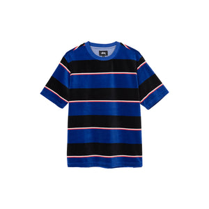 VELOUR STRIPE CREW IN BLUE