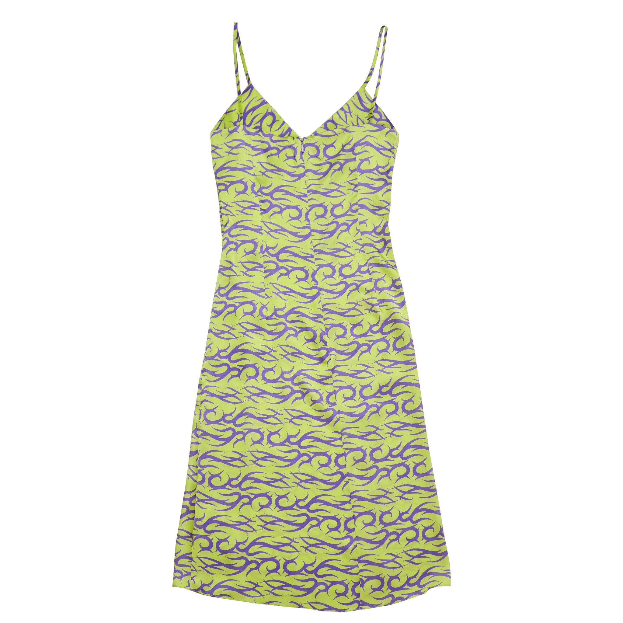 SLIP DRESS IN PURPLE AND MINT