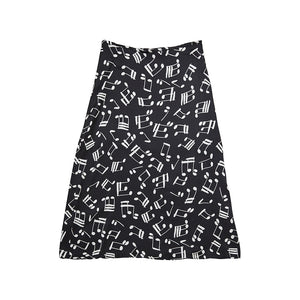 SLIP SKIRT MUSIC NOTE BLACK