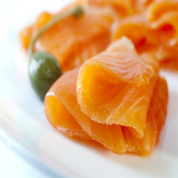Close-up of wild king smoked salmon lox